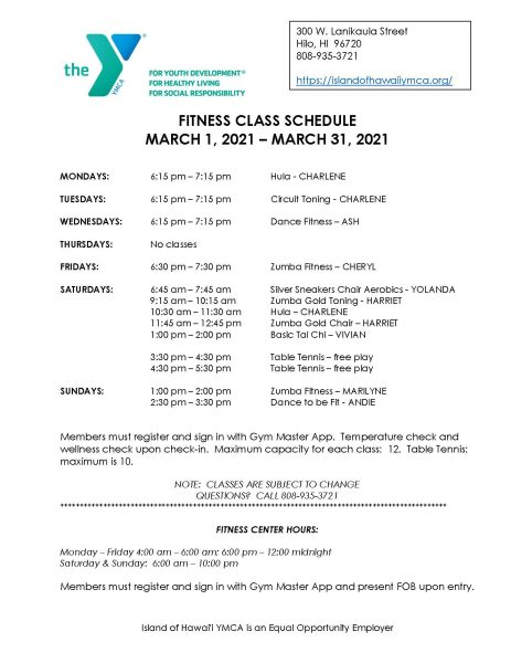 2021 02 18 Fitness Schedule For March