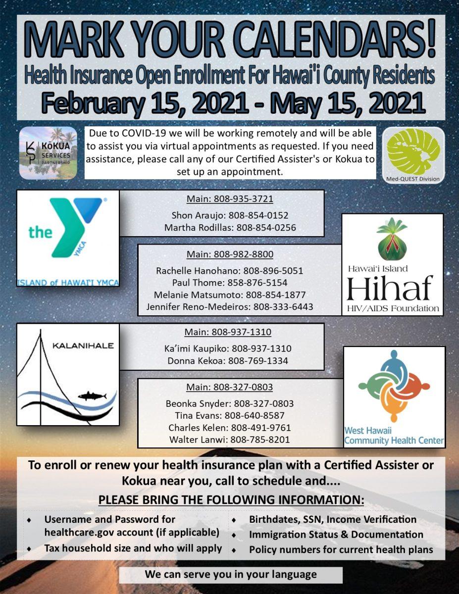 Open Enrollment Flyer Hawaii Dark Feb 15-May 15, 2021